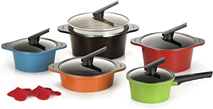 Happycall Hard Anodized Ceramic Nonstick Pot 13-piece Set, Oven Safe, Dishwasher Safe, Steamer, Silicone Pot Holders, Cook...