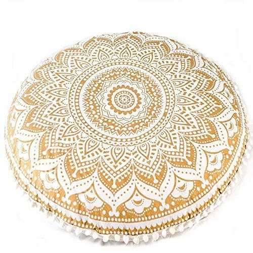 CCONE Round Boho Mandala Hippie Decorative Throw Pillow Ottoman Ottoman Removable Cover,Mandala Floor Pillows Round,Bohemian Meditation Cushion