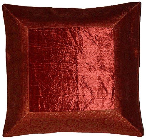 Deko-Kissenbezüge Kissenhülle Samt Brokat Asiatisch Indisch Orientalisch Bezug Kissen Rot 40x40 cm