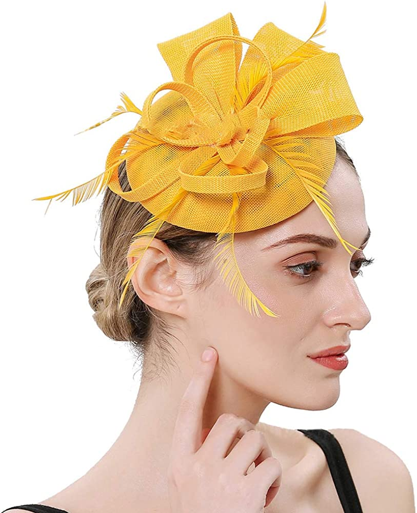 Itopfox Women's Feather Fascinators Hat - Hair Pin Cocktail Headwear Pillbox Hat for Tea Party Derby Wedding Royal Banquet