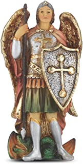 Hand Painted Resin Catholic Patron Saint Michael the Archangel Statue with Prayer Card, 4 Inch