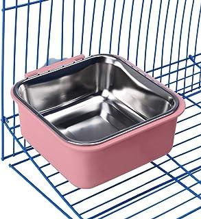 IHOLLYペットボウル 食器 犬猫用 餌入れ 水入れ ステンレス製 ハンガーボウル フードボウル 高さ調整 取り外し可能 お留守番対応 正方型 ピンク
