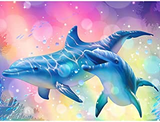 DIY 5D Diamond Painting by Number Kit, Full Drill Cute Dolphin Couple Rhinestone Embroidery Cross Stitch Supply Arts Craft Canvas Wall Decor