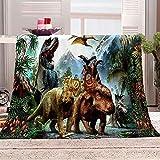 N \ A Decken Tiere und Dinosaurier 3D-Druckmuster für Besseren Schlaf Flanelldecke für Erwachsene & Kinder Warm Weiche Schlafdecke 59x78.7 inch