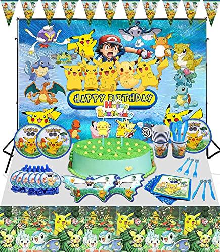 FGen 94pcs Décoration de Fête d'anniversaire pour Enfants, Kit De Fournitures De Fête, Fête Décoration Supplie, Y Compris Bannière, Assiettes, Paper Cups, Serviettes de Table, Nappe, Ballons en Latex