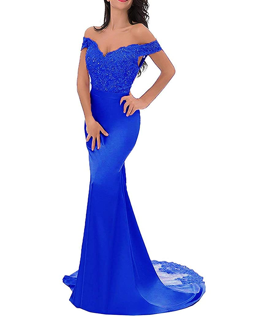 Mermaid Formal Dress Women Evening Gown V Neck Top Lace Bridesmaid Dresses Long