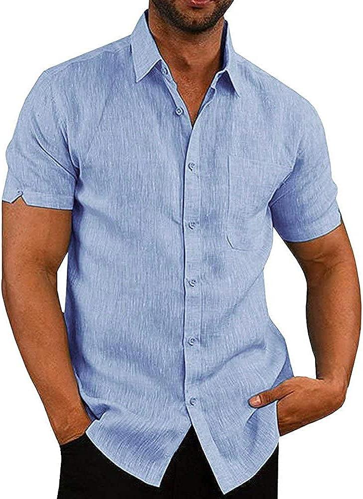 JEKAOYI Button Down Sales results No. 1 Short Sleeve Linen 5% OFF Shirt Casu for Men Summer