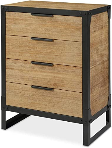 2021 Landia Home High Chest Dresser - Small Vertical Shape with 4-Drawers, Rustic and Industrial Design with 2021 Metal Frame new arrival and Acacia Manufactured Wood Veneer sale