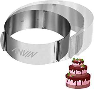 Anvin Layered Cake Mold Ring Round Milk Bar Birthday Cakes 6in to 12in Adjustable Stainless Steel Baking Cheese Mousse