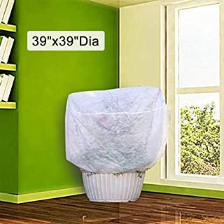 Agfabric Plant Cover Frost Protection Bag - 0.95oz H39 xDia39 Round Shrub Jacket for Frost Freeze Protection Bug/Insect Barrier,White