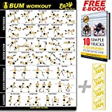 Butt Workout Exercise Banner Poster - Tone, Firm, Shape, Lift & Grow a Bigger Bum At Home - Big Gym...