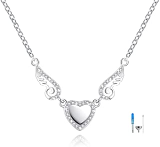 ACJFA 925 Sterling Silver Love Heart Angel Wings Cremation Jewelry for Ashes Memorial Urn Pendant Necklace for Women Gift