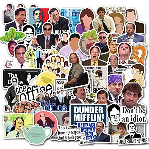 The Office Merchandise Stickers[50pcs]Funny Quote Pack with Dunder Mifflin Michael Dwight Jim Mike design for Hydro Flask Folder Water Bottles Laptop Notebook Computer Guitar Bike Helmet, Best Gift