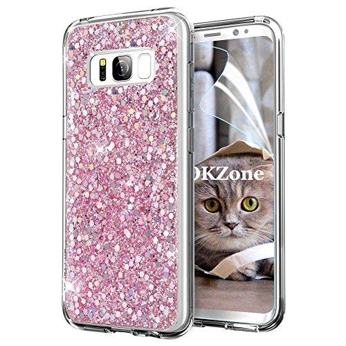 OKZone Cover Samsung Galaxy S8, Custodia Lucciante con Brillantini Glitters Ultra Sottile Designer Case Cover per Samsung Galaxy S8 (Rosa)