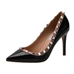 71a0abebcde CAMSSOO Women s Classic Rivets Pointy Toe Stilettos Slip On P ..