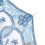 WinmetEuro Paraguas De Accesorios para Fotos, Paraguas De Novia con Abanico, Paraguas De Boda Elegante, Accesorios De Paraguas, Varillas De Metal para Fiestas De Celebración(Azul, S)