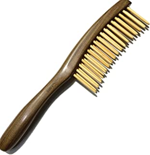 Fitlyiee Double Rows Teeth Sandalwood Hair Comb Anti-Static Handmade Wide Tooth Wooden Comb