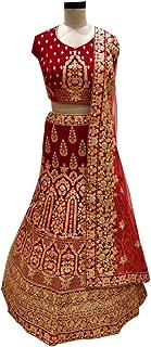 SHRI BALAJI 8966 Red Indian Hit Latest Velvet Lehenga Chli Heavy Embroidery Work Bridal wedding cocktail wear Ethnic Women Girls Semi Stitched