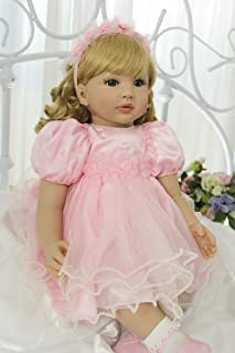 Angelbaby 24 inch 60CM Toddler Size Reborn Baby Girl Dolls Long Curly Blonde Hair Big Blue Eyes Princess in Pink Skirt Lifelike Soft Silicone Snuggly Weighted Child Dolls for Collectible Gifts