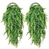 Plantas artificiales de helecho trepadoras | hiedra artificial para colgar plantas artificiales de exterior de plástico | para decoración del jardín de casa verde