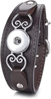 VOCHENG Snap Jewelry Genuine Leather Bracelet Buckle Heart Black Adjustable Fit 18mm Interchangeable Button Charms Jewelry ANN-606 (Brown)