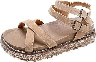 FORUU Women's Vintage Flat Ankle Cross Straps Buckles Beach Shoes Roman Slippers