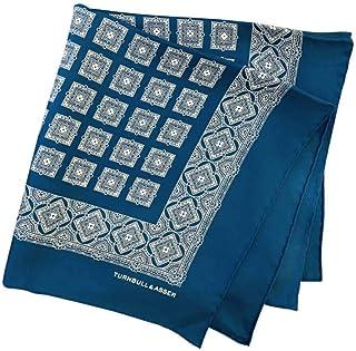 ポケットチーフ シルクチーフ メンズ 紳士 英国製 Silk ターンブル&アッサー Turnbull&Asser 大判 ツイル ジオメ Turquoise/White Size45x45cm C016