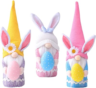 SHOKAN 3Pcs Easter Rabbit Gnome Ornament, Easter Bunny Gnomes Gonk Plush Faceless Doll Toys Gifts, Easter Decoration for Kids, Room, Desktop, Home Ornament