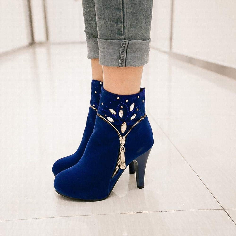 XZ Women's shoes - British Martin Boots Women's Booties Fashion High-Heeled Winter Warm Boots 36-43