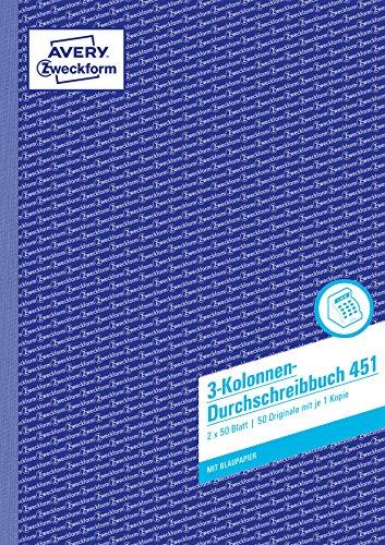 AVERY Zweckform 451 Kolonnen-Durchschreibbuch 3 Kolonnen (A4, mit 1 Blatt Blaupapier, von Rechtsexperten geprüft, für Deutschland und Österreich zum Erstellen von Original und Kopie, 2x50 Blatt) weiß