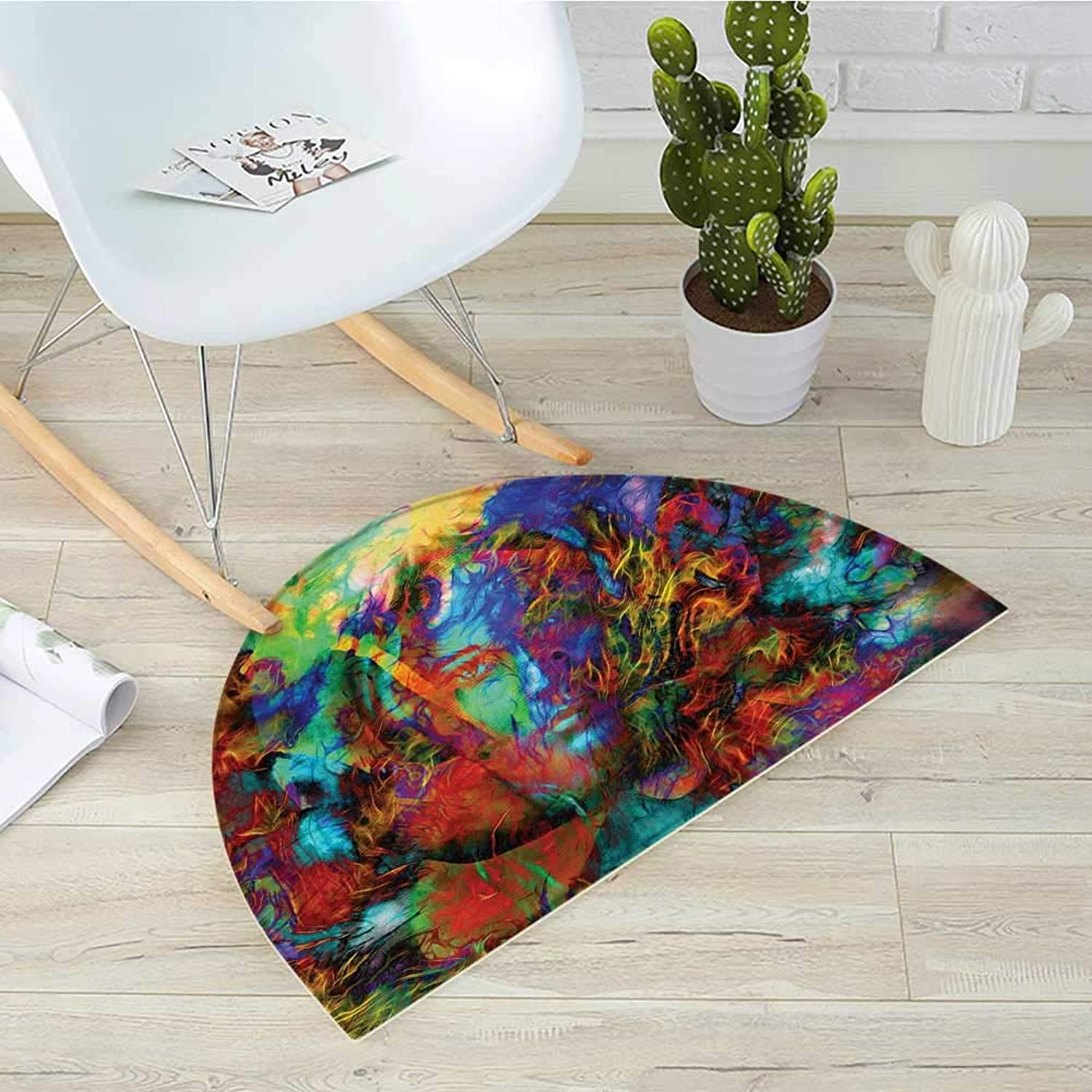 Mystic Half Round Door mats Mysterious Woman Face with Butterflies and Figures Vision Perspective Spirit Artwork Bathroom Mat H 31.5  xD 47.2  Multicolor