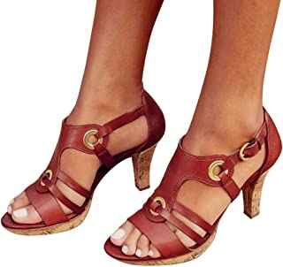 Cenglings Rome Shoes,Women's Open Toe Strappy Hollow Out Ankle Strap Buckle Sandals Low Chunky Heel Pumps Beach Shoes