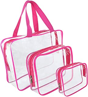 PVC Travel Storage Bags Clear Luggage Organizer Pouch Packing Cube Clothing Sorting Packages Pack of 3Pcs Rose Red