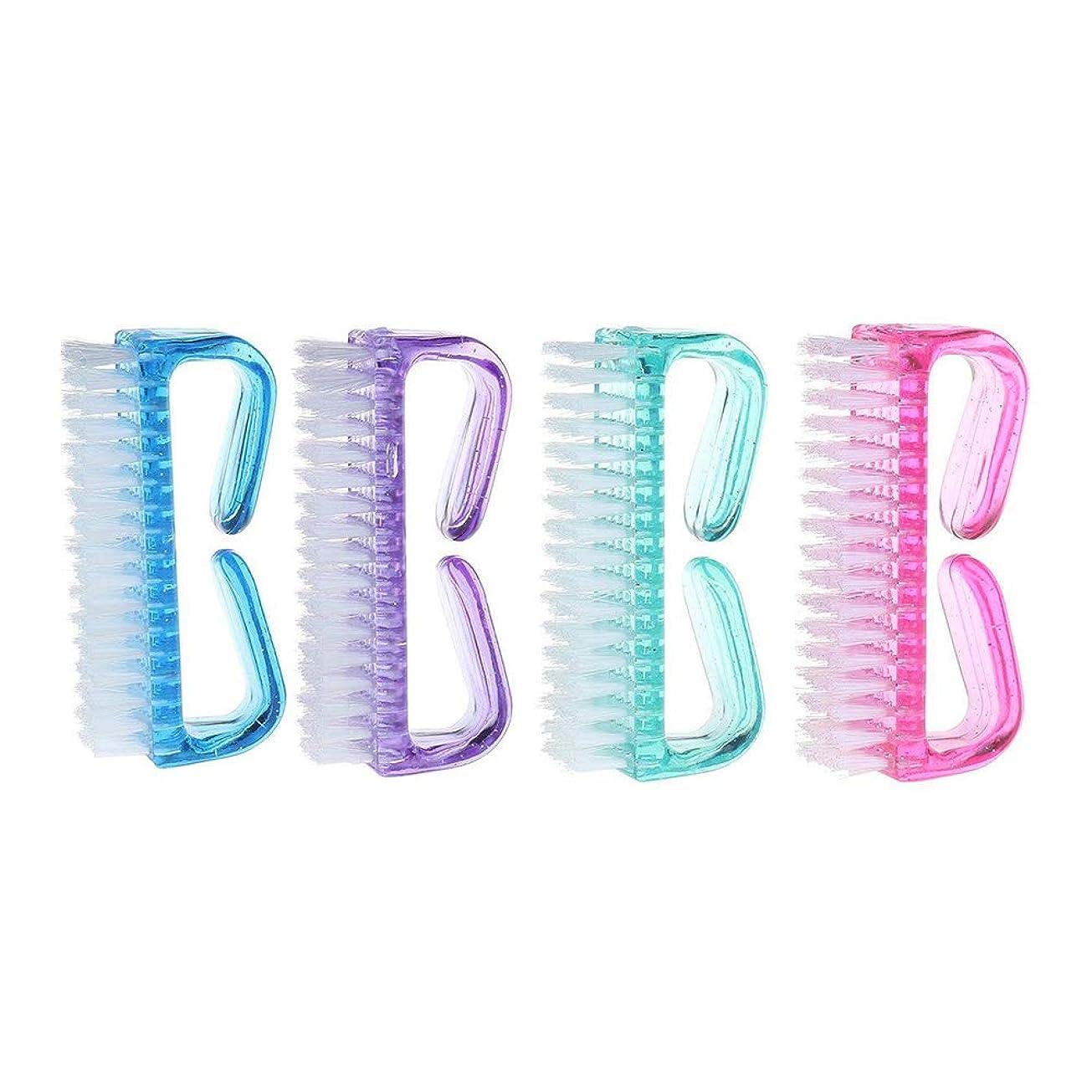 薄める顔料クリーク【Pinacis】 爪ブラシ ネイル用ブラシ 万能 除菌 爪の間の汚れを落とす ABSプラ製 全4色 4個セット ピンク グリーン