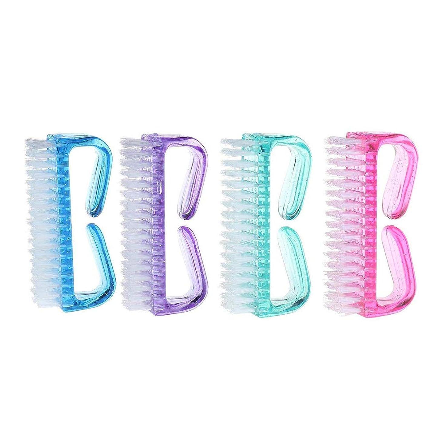 バンガローバイオリニストリネン【Pinacis】 爪ブラシ ネイル用ブラシ 万能 除菌 爪の間の汚れを落とす ABSプラ製 全4色 4個セット ピンク グリーン