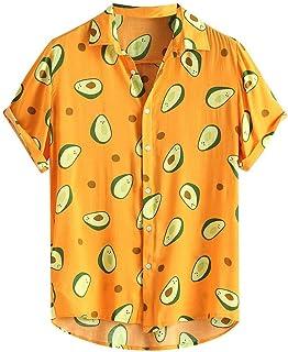 Camisa Hawaiana para Hombre Manga Corta Camisas Casual para Hombre Top Estampado Impresión Aguacate Verano romántico Playa...