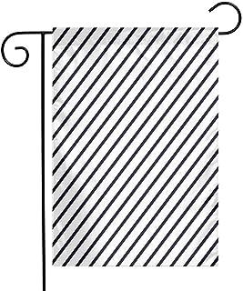 Mannwarehouse Geometric Garden Flag Diagonal Stripes Monochrome Pattern Classical Old Fashioned Pattern Design Premium Material W12 x L18 Dark Blue White