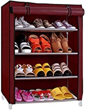 Inditradition 4 Layer Collapsible Shoe Rack, Shoe Storage Cabinet | with Non-Woven Cover (60 x 30 x 72 cm, Wine Colour)
