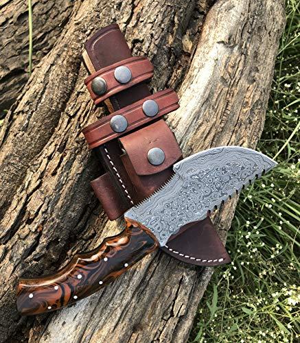 Custom Handmade Damascus Tracker Knife with Dollar Sheet Wood Handle Knife Fixed Blade - Hunting Knife with 100% Pure Cowhide Leather Sheaths Horizontal