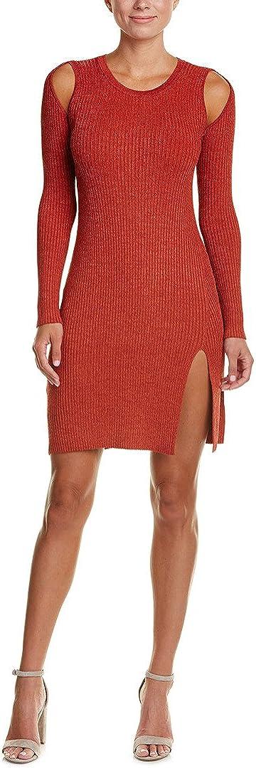 BCBGMAXAZRIA Women's Braiden 高級 オンラインショッピング Marled Rib Cold Tunic Shoulder Knit