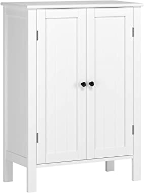 Homfa Bathroom Floor Cabinet, Free Standing Side Cabinet Storage Organizer with Double Doors and Adjustable Shelf for Home Of