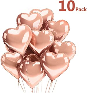 [10 Pack] Heart Balloons Foil Decorations, 18 inch Rose Gold Balloons Mylar Balloons for Birthday Party/Wedding/Engagement Party/Celebration/Holiday/Show/Party Activities