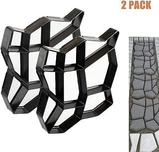 Concrete Molds 2 Pack Walk Maker Reusable Path Maker Stepping Stone Paver Lawn Patio Yard Garden DIY Walkway Pavement Paving Moulds (Irregular)