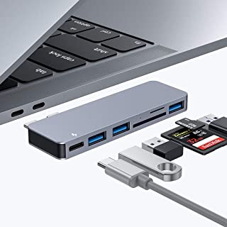 USB C Hub for MacBook Pro, 6 in 1 USB C Hub with 3 USB3.0 Ports, SD/Micro SD Card Reader and USB-C Power Delivery, Aluminu...