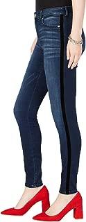 I.N.C. International Concepts Women's High-Rise Velvet-Stripe Skinny Jeans, Dark Indigo, 4