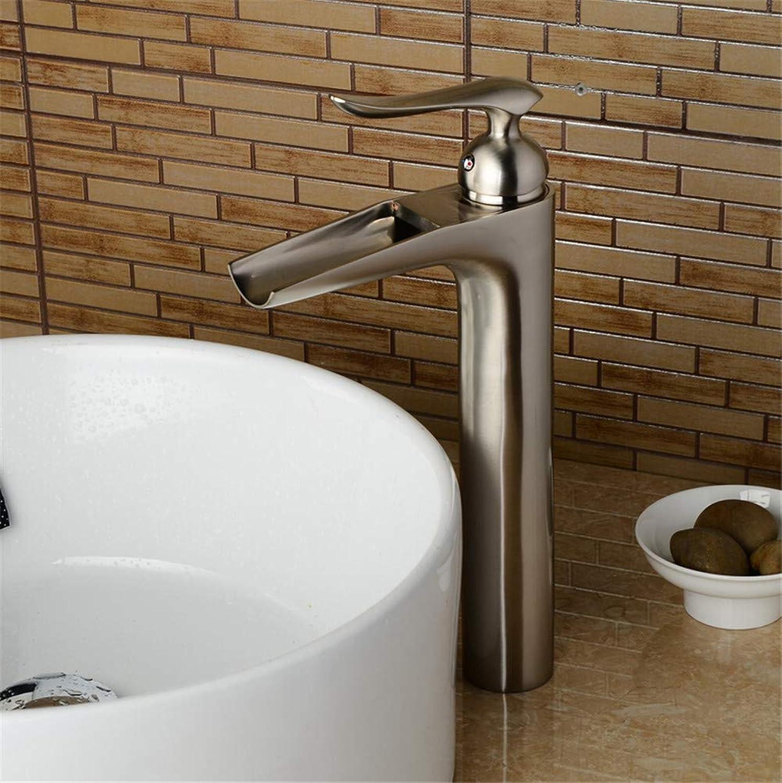YAWEDA Waterfall Nickel Brushed Bathroom Faucet High Nickel Basin Mixer Brushed Waterfall Basin Faucet Sink Mixer Tap Sink Faucet