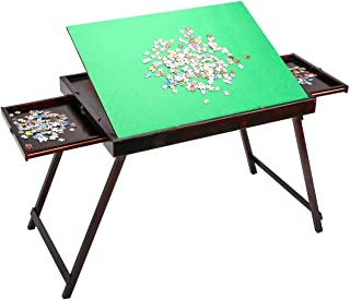 (US Stock) Wooden Jigsaw Puzzle Table for Adults Kids,Large Portable Folding Tilting Table for Puzzle Games Home Furniture