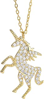 URDEAR 925 Sterling Silver Gold Plated Unicorn Pendant Necklace Gorgeous Horse Jewelry Ornaments Unicorn Charms Pendant Necklace Gifts for Women Girls