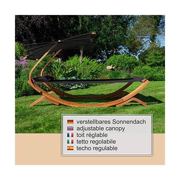 Ampel 24 Doppel-Sonnenliege Panama mit Dach Creme weiß, Gartenliege mit Holzgestell wetterfest, Sonnendach verstellbar…