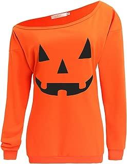 Women Slouchy Shirts Halloween Pumpkin Long Sleeve Sweatshirts Pullover